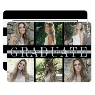 Center Stripe | Six Photo Graduation Party Invite