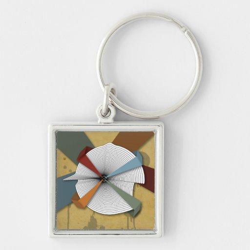 Center Yourself-Digital Grunge Abstract Art Key Chain