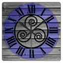 Centered Triskelion On Aged Wood Image and Blue Square Wall Clock (<em>$33.45</em>)