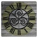 Centered Triskelion On Aged Wood Image, Brown Square Wall Clock (<em>$33.45</em>)