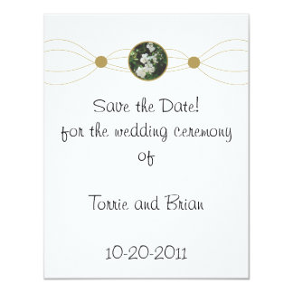 Centered white flower bouquet Save the Date Card