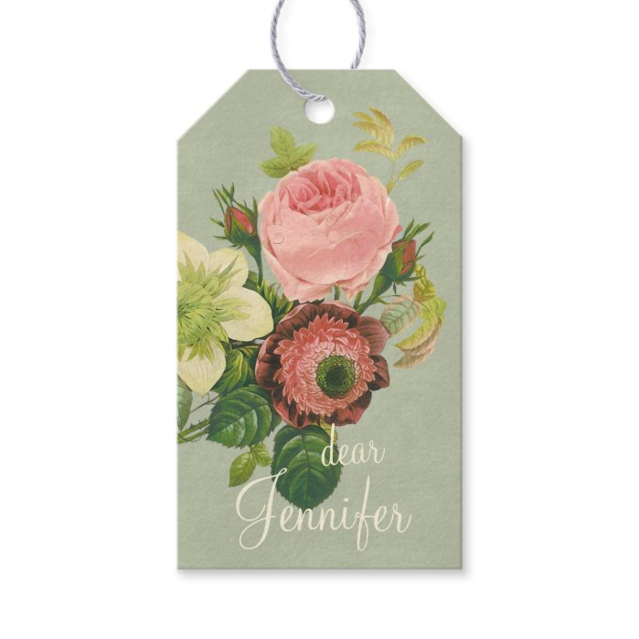 Centifolia rose anemone clematis CC0108 Redouté Gift Tags
