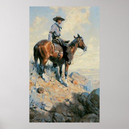 Centinela de los llanos por Dunton, vaquero del Posters