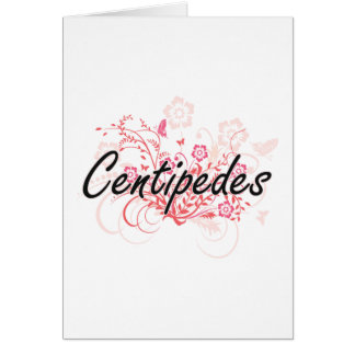 Centipedes with flowers background greeting card