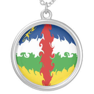 Centrafrique Gnarly Flag Round Pendant Necklace