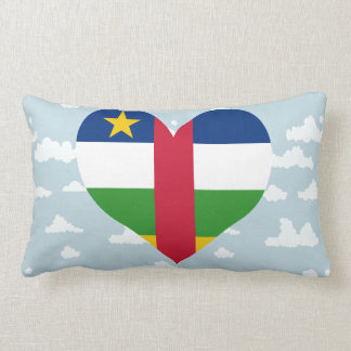 Central African Flag on a cloudy background Throw Pillows