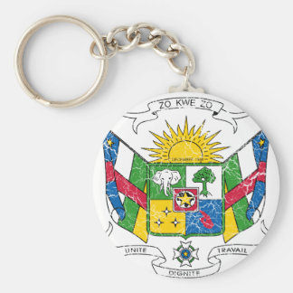 Central African Republic Coat Of Arms Basic Round Button Keychain