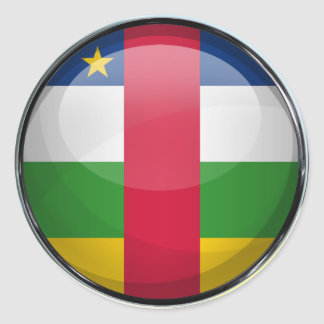 Central African Republic Flag Glass Ball Classic Round Sticker