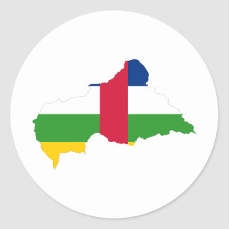 Central African Republic Flag map CF Classic Round Sticker