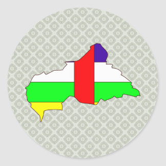 Central African Republic Flag Map full size Round Stickers