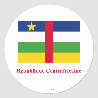 Central African Republic Flag with Name in French Classic Round Sticker