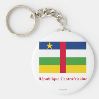 Central African Republic Flag with Name in French Basic Round Button Keychain