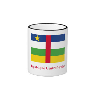 Central African Republic Flag with Name in French Ringer Coffee Mug