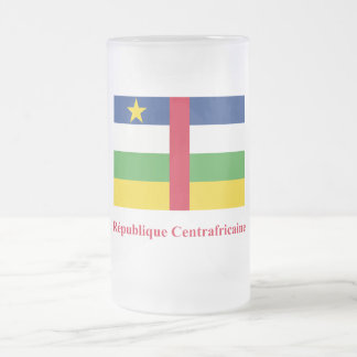 Central African Republic Flag with Name in French 16 Oz Frosted Glass Beer Mug