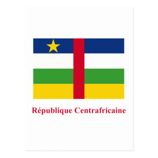 Central African Republic Flag with Name in French Postcard