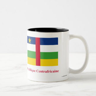 Central African Republic Flag with Name in French Two-Tone Coffee Mug