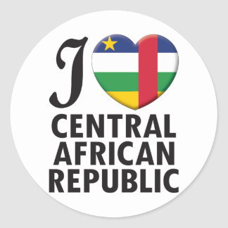 Central African Republic Love Classic Round Sticker