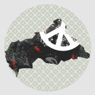 Central African Republic Trendy Peace Sign with Af Round Sticker