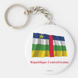 Central African Republic Waving Flag French Name Basic Round Button Keychain