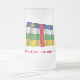 Central African Republic Waving Flag French Name 16 Oz Frosted Glass Beer Mug