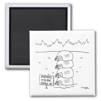 Central Air in Igloos 2 Inch Square Magnet