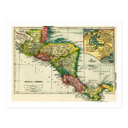 Central AmericaPanoramic MapCentral America Postcard