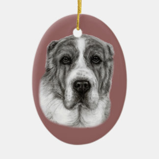 Central Asia Shepherd Dog Painting Ceramic Ornament
