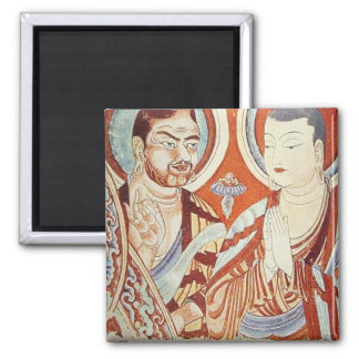 Central Asian Buddhist Monks 2 Inch Square Magnet