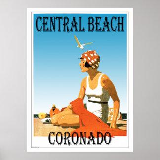 Central Beach Coronado Retro Beach 1920s Poster
