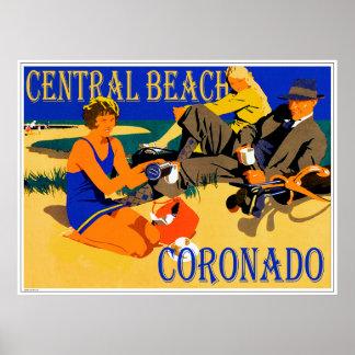 Central Beach Coronado Retro Beach Poster