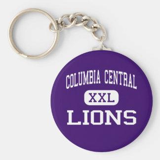 Central de Columbia - leones - alta - Columbia Llavero Redondo Tipo Pin