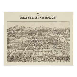 Central de Great Western, mapa panorámico del CO - Póster