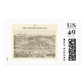 Central de Great Western, mapa panorámico del CO - Sello Postal