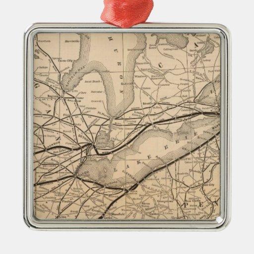 Central de Nueva York del mapa y ferrocarril del Ornamentos De Navidad