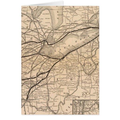 Central de Nueva York del mapa y ferrocarril del r Tarjeta De Felicitación