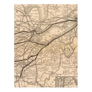 Central de Nueva York del mapa y ferrocarril del r Postal