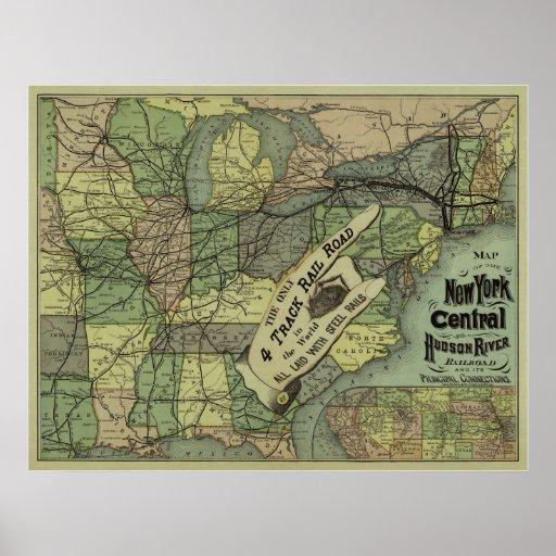 Central de Nueva York y mapa del ferrocarril del r Póster