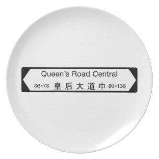 Central del camino de la reina placa de calle de platos de comidas