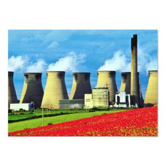 Central eléctrica campo de la amapola y amarillos invitaciones personales
