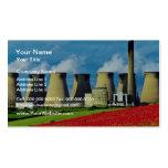 Central eléctrica campo de la amapola y amarillos  plantilla de tarjeta de visita