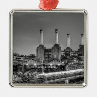Central eléctrica de Battersea del paso de los Adorno Navideño Cuadrado De Metal