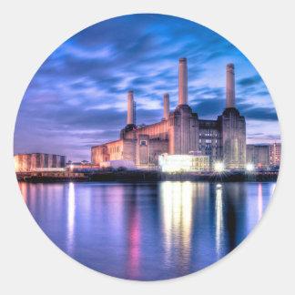 Central eléctrica de Battersea en la noche Pegatina Redonda