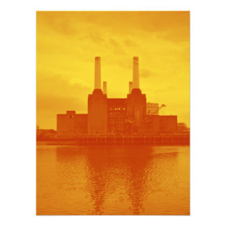 Central eléctrica de Battersea (en rojo y amarillo Impresión Fotográfica
