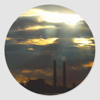 Central eléctrica siniestra pegatina redonda
