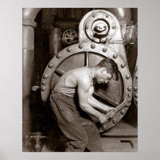 Central eléctrica Worker, 1920. Foto del vintage Póster
