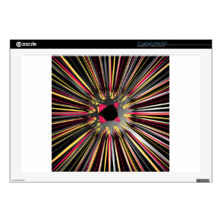 "Central explosion of dynamic lines of light decals for 17"" laptops"
