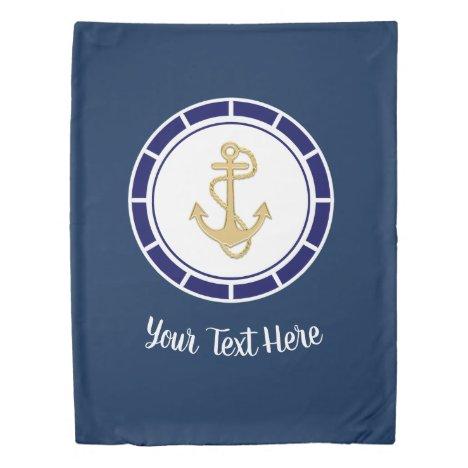 Central Golden Anchor Navy Blue Nautical Duvet Cover