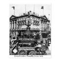 London street scene postcard, Piccadilly Circus horse tram 1909