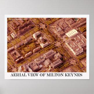 Central Milton Keynes aerial poster art/print