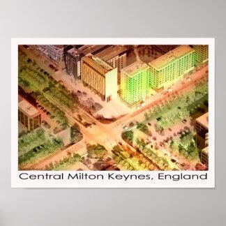 Central Milton Keynes aerial poster print